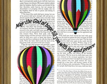 Hot Air Balloons printed on repurposed Bible page