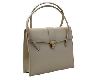 Vintage Cream Leather Puse, Handbag, Top Handle Bag