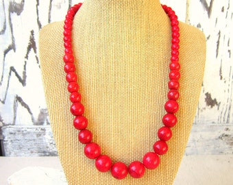 Red Beaded Necklace. Red Graduated Necklace. Red Statement Necklace. Beaded Red Necklace. Bridesmaid Jewelry. Red Turquoise Necklace