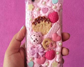 Pink deco Case. kawaii case.