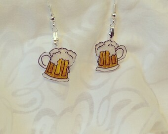 "beer mug earrings, 100% recycled plastic, ""shrinky dink"""