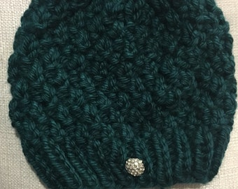 Slouchy Knit hat with side button