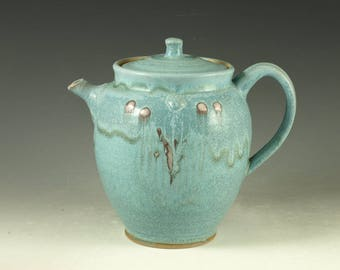 Pottery teapot in turquoise glaze 5.5 cups loose leaf