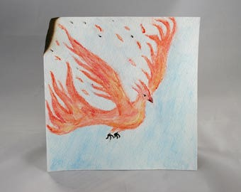 Phoenix Rising Burning Flying Original Watercolor Pencil Painting // Giclee Archival Print Hand painted