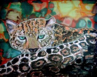 Silk Original batik handpainted  Jaguar.