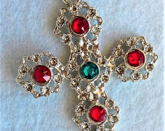Single Cross earring with rhinestones