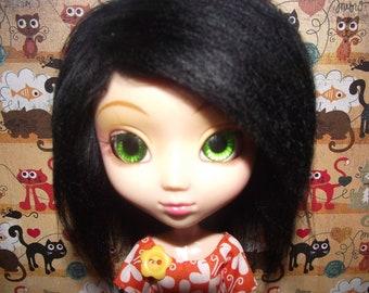 A cute black faux fur wig hair for Pullip/Taeyang/Dal
