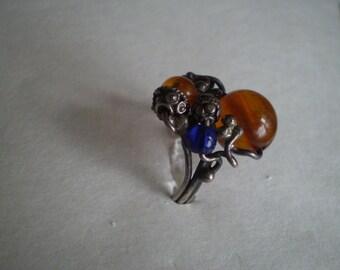 vintage silver AMBER NEST Ring & Lapis