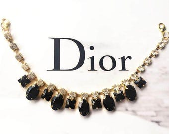 "3pcs 23cm 9.05"" long black bag dress shoes beads Rhinestones appliques patches collar B48E98Y0315C free ship"