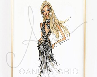 Fashion Illustration Print, Met Gala Marchesa, 8x10""