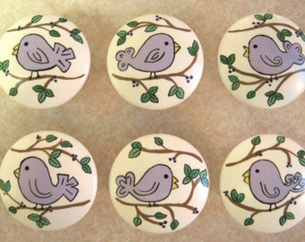 Set of 6 PURPLE BIRDIES Birds - or Any Color You Want -  Hand Painted Wooden Knobs Pulls