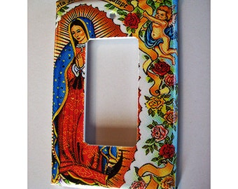 Virgin of Guadalupe rocker switch plate cover retro vintage Mexico dimmer switch kitsch