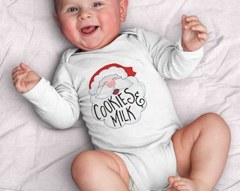 Santa's Milk and Cookies Infant Long Sleeve Bodysuit (Santa, Milk and cookies, first Christmas, Christmas, baby shower gift) by Kathrin Legg