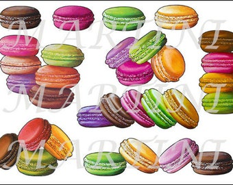Sticker decal with macaroons clipped