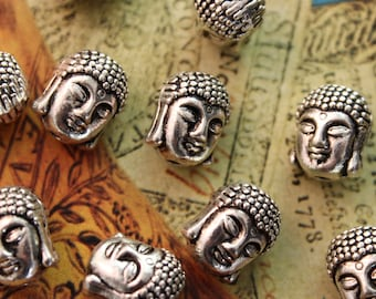 10 Buddha Head Bead Charms Antiqued Silver Tone Double Sided 3D 8 x 10mm