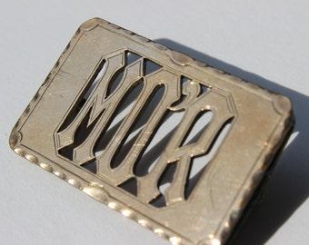 Vintage monogrammé ceinture boucle M o ' r en laiton Antique