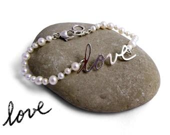 Pearl Custom Handwriting Bracelet | Handwriting Memorial Bracelet with Pearls | Personalized Love Pearl Bracelet