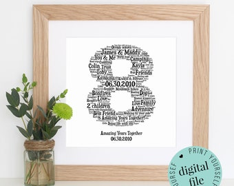Personalised 8TH ANNIVERSARY GIFT - Word Art - Printable Gift - 8 Year Anniversary - 8th Wedding Anniversary - Bronze Anniversary