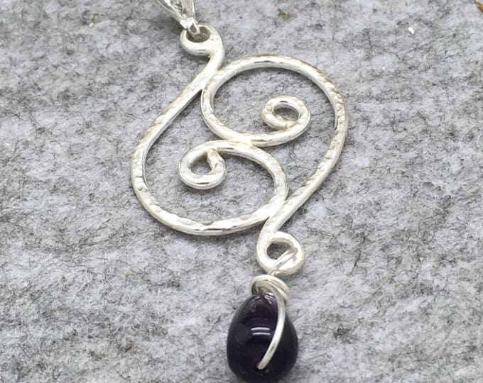 Featured listing image: Handcrafted Sterling Silver Swirl Pendant with Amethyst Drop.