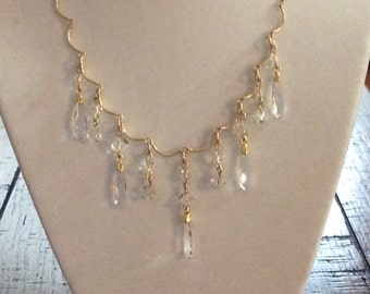 GOLD FILLED CHAIN and Swarovski Crystal Dangles, Matching Gold Filled Earrings