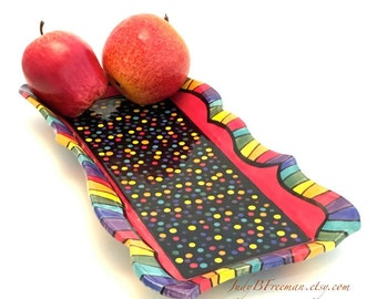 Ceramic Rectangular Platter Rainbow Striped Polka Dotted Serving Stoneware on Black Celadon Made to Order PL00017