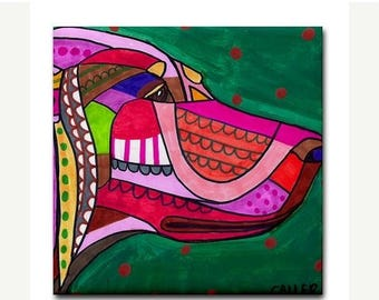 50% SALE- English Setter art Tile Ceramic Coaster  Folk Art Print of painting by Heather Galler dog