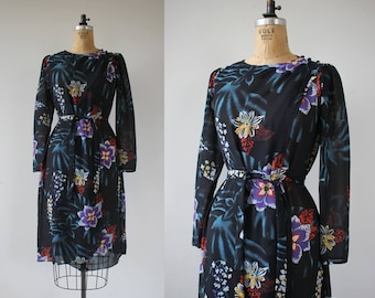 vintage 1970s dress / 70s 80s navy blue floral dress / 70s faux wrap dress / 70s sheer floral dress / long sleeve dress / medium