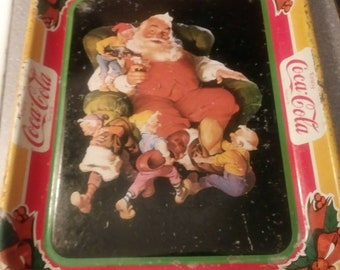 Coca-Cola Tray Santa & Elves