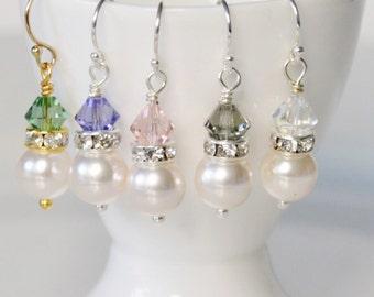 Crystal Earrings, Pearl Earrings, Simple Bridal Earrings, Wedding Earrings, Drop Earrings, 45 Crystal colour choices, Prom Jewellery