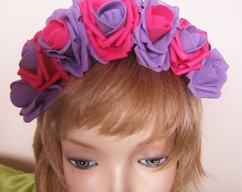 Purple-Pink Roses, Flower headband, Hair hoop with freesias. Hair accessories. Flower hair hoop, Purple-Pink Roses roses flowers hairhoop