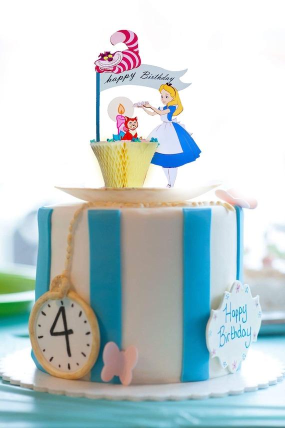 Disney Alice in wonderland cake toppers / Alice greeting card