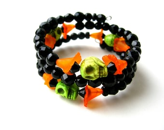 Black and Orange Skull Bracelet - Dead of the Dead Bracelet - Gothic Jewelry - Black Jewelry - Skulls - Skull Bracelet