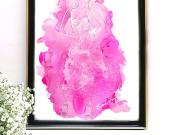 Original Watercolor Fashion Illustration, Pink Dream Painting 9x12, Watercolor Art