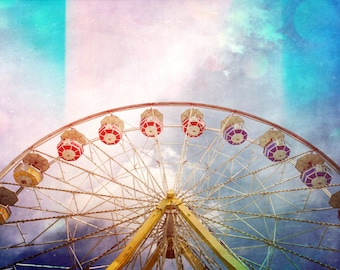 ferris wheel photo print, kids room art, baby girl, dreamy home decor, carnival art, large canvas wall nursery art bedroom circus blue pink