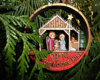 Hallmark Christmas Ornament 1977 Hallmark Vintage Collectible Christmas Ornament Nativity Scene