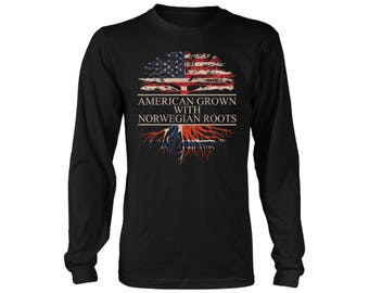 American Grown with Norwegian Roots Long Sleeve Shirt