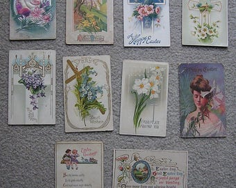 Lot of 10 Vintage Easter Greeting Postcards, 1910s to 1920s, Fair to Very Good Condition