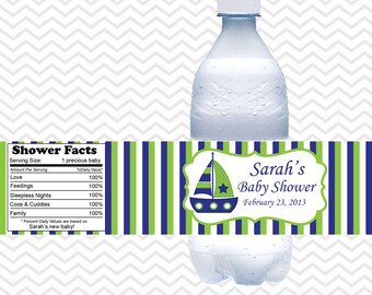 Nautical Blue Green  - Personalized water bottle labels - Set of 5  Waterproof labels