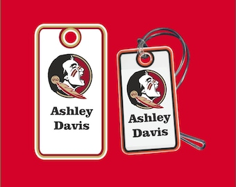 Florida State Seminoles Custom Bag Tags | FSU Bag Tag Comes with Name and Lanyard - Go Seminoles!!