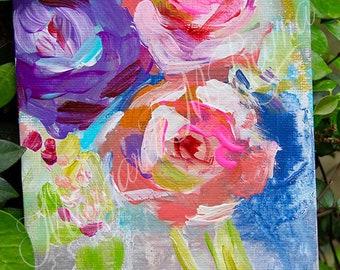 "Abstract Floral Original Canvas Art - ""New Beginnings"""