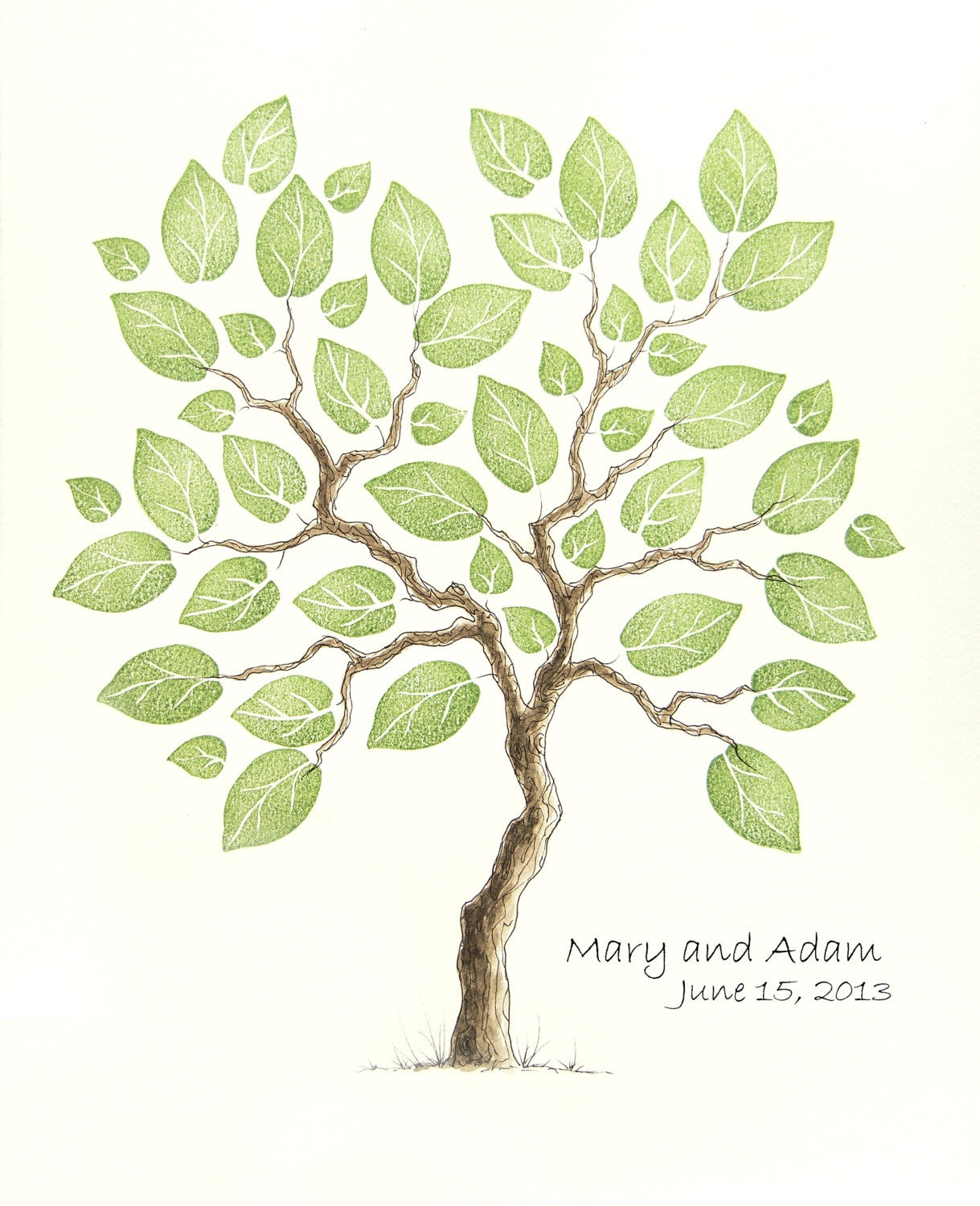 Wedding Tree Genealogy Chart By Melangeriedesign On Etsy: Wedding Tree Guest Book SMALL Family Tree Original Watercolor