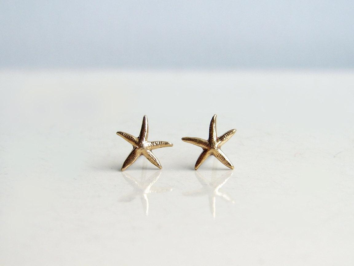 Teeny Tiny Starfish Earrings Brass Starfish Stud Earrings