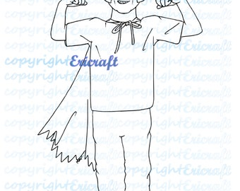 Digital Stamp- Batboy - Jpeg and Png image for cards and crafts by Erica Bruton