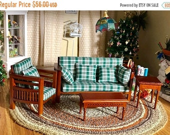 SALE Family Room Set, Plaid Fabric, Walnut Wood 4 PC Set With Pillows, Dollhouse Miniature Furniture, 1:12 Scale, Couch, Chair, Tables