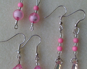 3 Pairs of Pink Bead Earrings