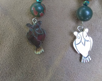 Red Creek Jasper Owl earrings