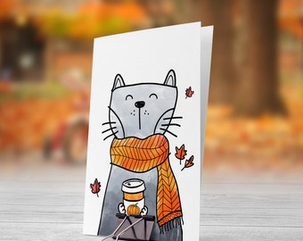 Cat Holding Pumpkin Spice Blend 5x7 inch Folded Greeting Card - GC1104
