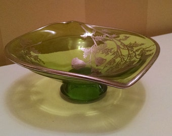 Cambridge Glass Pedestal Bowl with Flanders Poppy Overly