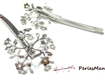 2 support of cherry blossom ID31895 platinum silver hair clip
