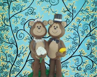 Personlized Monkey Wedding Cake Topper